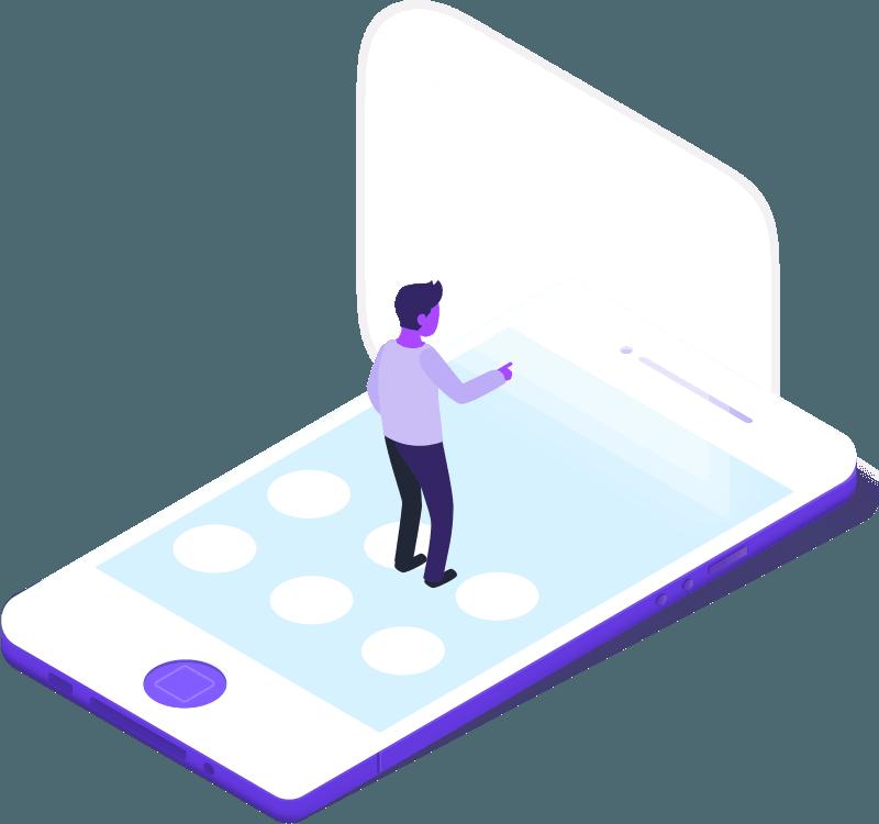 personage illustré sur écran de téléphone qui touche un écran tactile pour publier un communiqué de presse